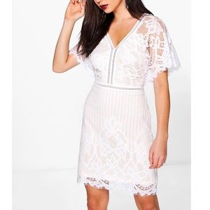 White Lace bodycon Mini dress with flutter sleeves